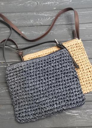 Лёгкая соломенная сумка cross-body3 фото