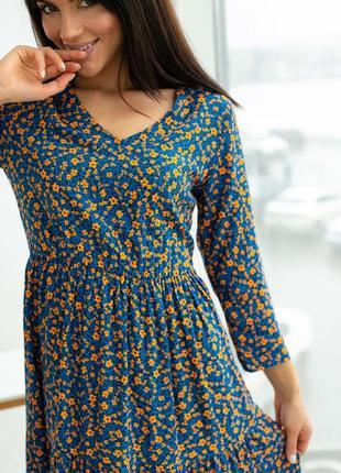 Хлопковое платье в цветочек2 фото