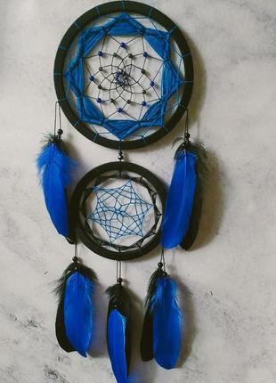 Чёрно синий ловец снов. декор для дома. подарок. амулет