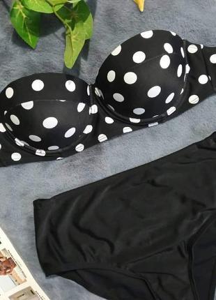 Черный купальник, ретро купальник, балконет , купальник в горох4 фото