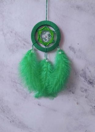 Маленький зелёный ловец снов. декор для дома. подарок. амулет