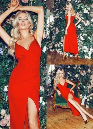 Красное платье, платье с разрезом, вечернее платье3 фото
