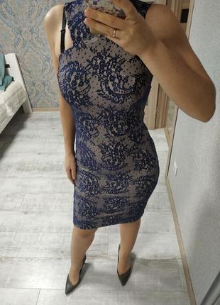 Красивое платье миди с имитацией кружева1 фото