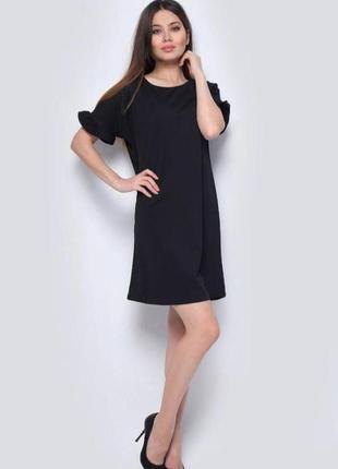 Платье мини чёрное трикотажное короткий рукав