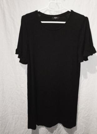 Платье мини чёрное трикотажное короткий рукав2 фото