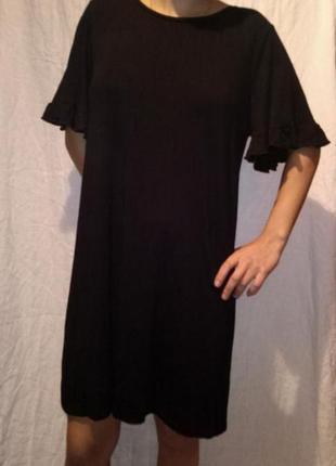 Платье мини чёрное трикотажное короткий рукав4 фото