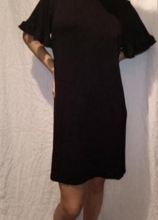 Платье мини чёрное трикотажное короткий рукав5 фото