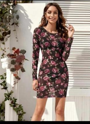 Платье сетка вышитые цветы ефектна сукня‼️5 фото