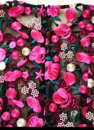 Платье сетка вышитые цветы ефектна сукня‼️3 фото