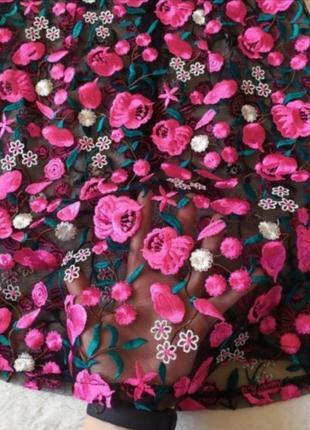 Платье сетка вышитые цветы ефектна сукня‼️4 фото