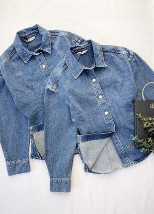Джинсовая приталенная плотная рубашка куртка на кнопках от zara