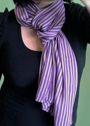 Шарф шаль платок фиолетовый в полоску.