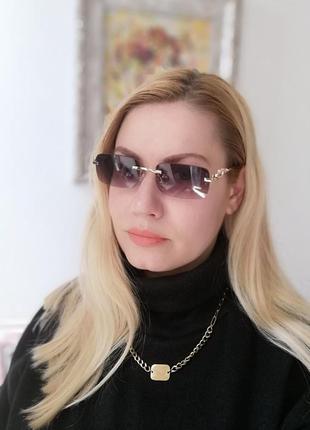 Стильные безоправные прямоугольные солнцезащитные очки  унисекс с леопардом