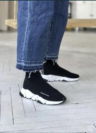 Чёрные женские кроссовки носки кеды .стрейчевые