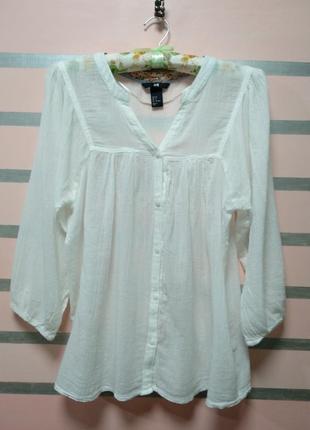 Белая лёгкая блуза марлевка h&m