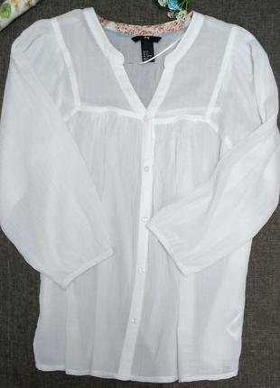 Белая лёгкая блуза марлевка h&m3 фото