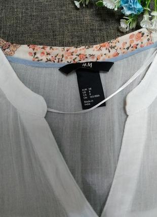 Белая лёгкая блуза марлевка h&m5 фото