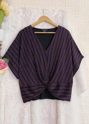 Шиммерная черная вечерняя блуза в полоску