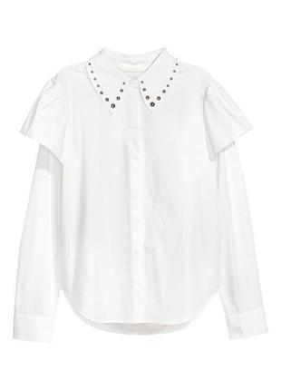 Стильная рубашка с заклепками на воротнике от h&m
