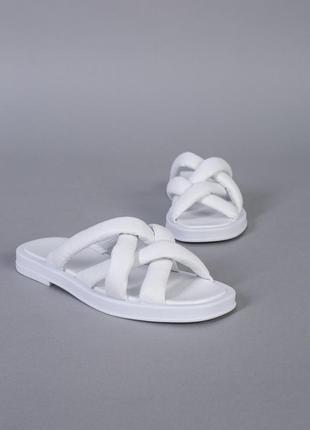 Шлепанцы женские кожаные белые с переплетом, на белой подошве