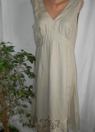 Распродажа!!!платье лен с вышивкой cinnabar