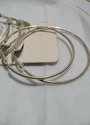 Большие серьги кольца в серебряном цвете3 фото
