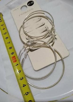 Большие серьги кольца в серебряном цвете4 фото