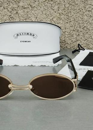 Модные трендовые солнцезащитные очки унисекс узкие овальные коричневые в золоте