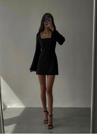 Платье мини чёрное юбка