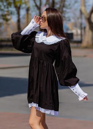 Платье воротничек белые манжеты элегантное
