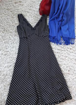 Стильное шёлковое платье черное в горох ,ann taylor ,p. 6-108 фото