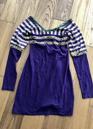 Фиолетовое мягкое трикотажное летнее платье в полоску pianurastudio