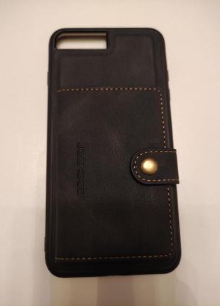 Чехол с кармашиком для карточек на магните для на iphone 8 plus6 фото