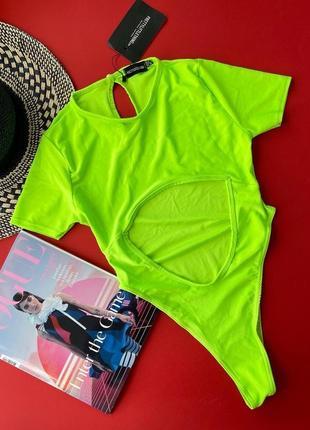 Офигенный неоновый купальник,салатовый,с рукавами,тренд,хит сезона5 фото