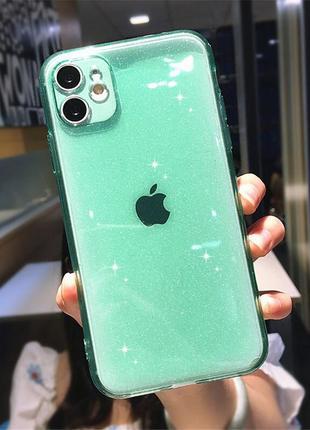 Зеленый прозрачный чехол в блестках на apple iphone 11/pro/pro max блестящий айфон tpu