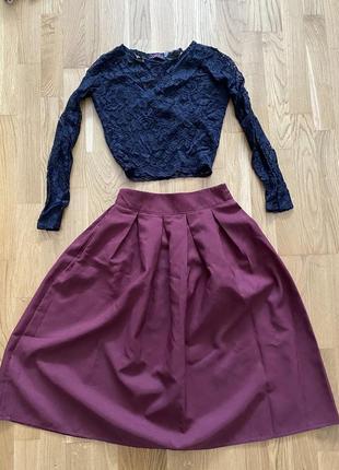 Костюм женский с пышной юбкой, топ, кофта короткая, юбка миди