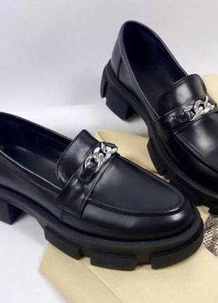 Туфли броги кожаные лоферы с цепью на тракторной подошве3 фото