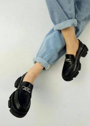 Туфли броги кожаные лоферы с цепью на тракторной подошве