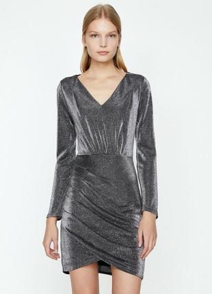 Серебристое королевское женское нарядное платье