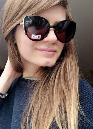 Новые красивые очки бабочки с блеском (линза с поляризацией) зелено-розовое стекло