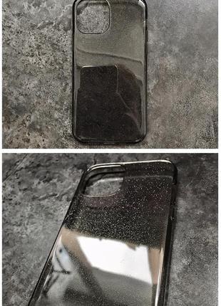 Черный прозрачный чехол в блестках на apple iphone 12/mini/pro/pro max блестящий айфон tpu
