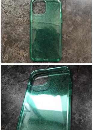 Зеленый прозрачный чехол в блестках на apple iphone 12 / 12 mini / 12 pro блестящий айфон