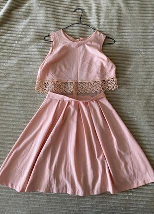 Женское платье, сарафан пудровый с кружевом и сеточкой