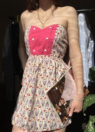 Стильное платье - сарафан с принтом мороженого от topshop в идеале