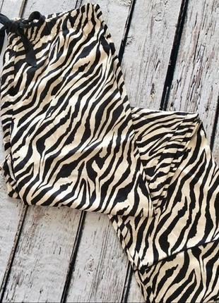 Оригинальные стильные пижамные сатиновые  брюки зебра