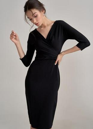Шикарное платье миди по фигуре на запах