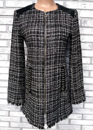 Стильный твидовый пиджак с вставками кожзама размер 8-10 zara