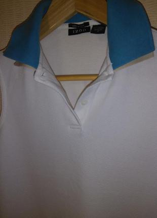 Белая базовая футболка / поло / тенниска izod (хлопок, эластан)