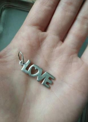 Кулон подвеска надпись love серебро 925 пробы