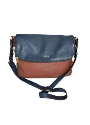 Кожаная сумка fossil оригинал синяя коричневая